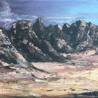 Mond über Berglandschaft