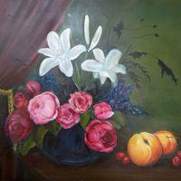 Blumen mit Obst