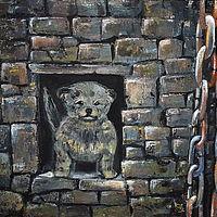 Kleiner Hund in Mauer